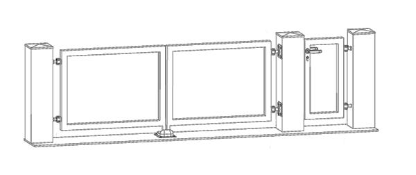 Křídlová brána - nákres
