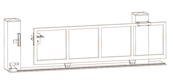 Pojezdová brána - nákres