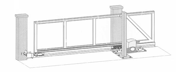 Posuvná brána - nákres